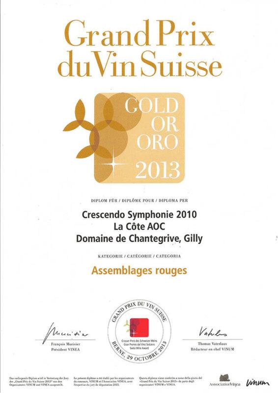 Crescendo Symphonie 2010 Médaille d'or Grand Prix du Vin Suisse 2013