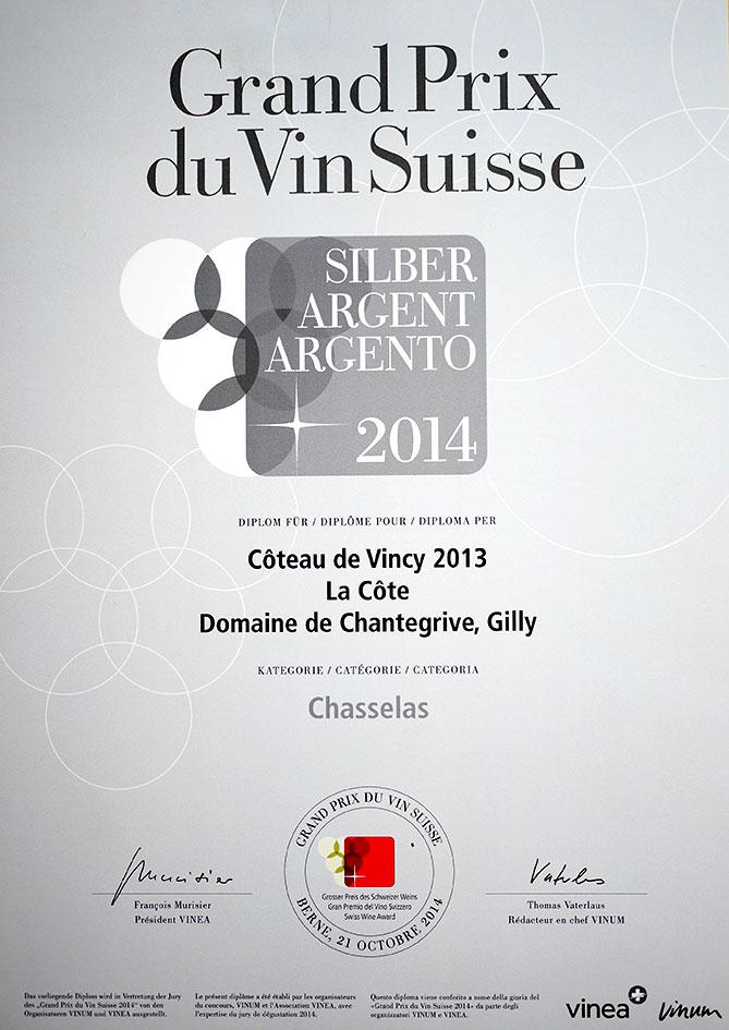 Grand Prix Vin Suisse Coteau de Vincy 2013 Argent