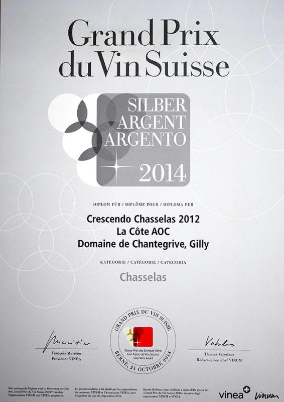 Crescendo Chasselas 2012 Médaille d'argent Grand Prix du Vin Suisse 2014