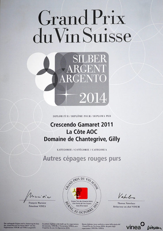 Crescendo Gamaret 2011 Médaille d'argent Grand Prix du Vin Suisse 2014