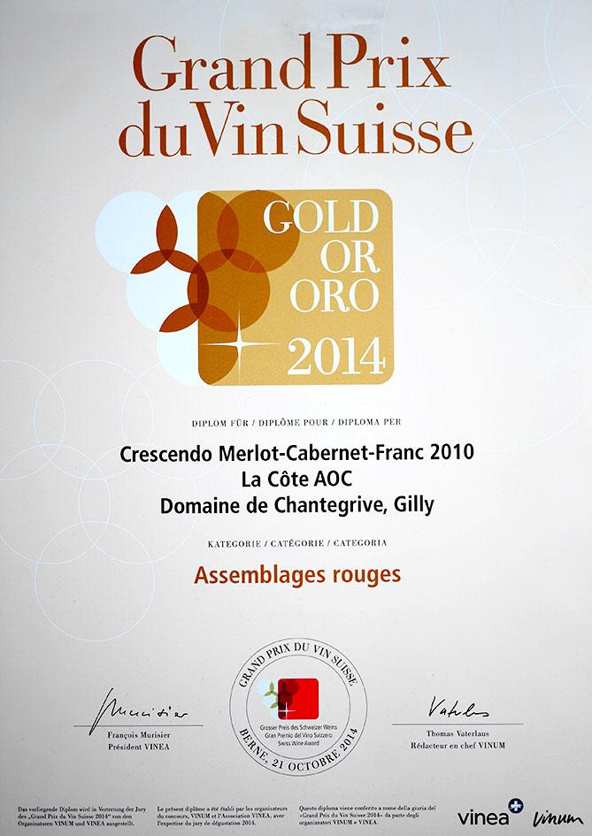 Grand Prix Vin Suisse Merlo Cabernet Franc-2010 Or
