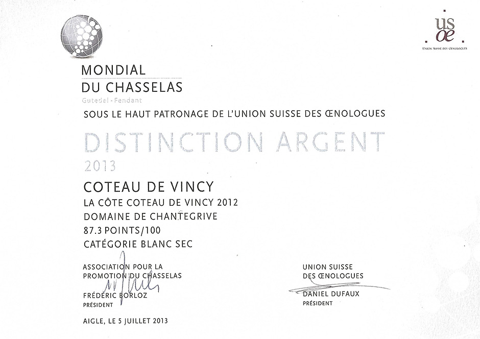 Mondial du Chasselas Coteau de Vincy 2012 argent