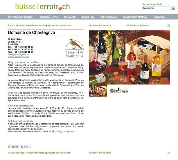 Suisse Terroir Domaine de Chantegrive