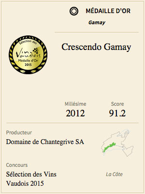Médaille Or Crescendo Gamay 2012 Domaine de Chantegrive