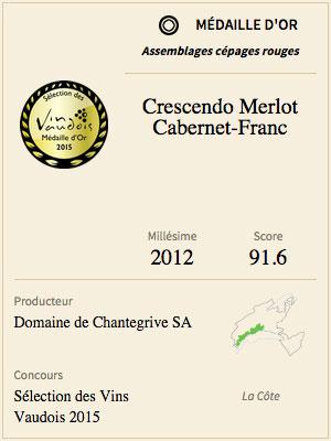 Crescendo Merlot Cabernet Franc 2012 Médaille d'or