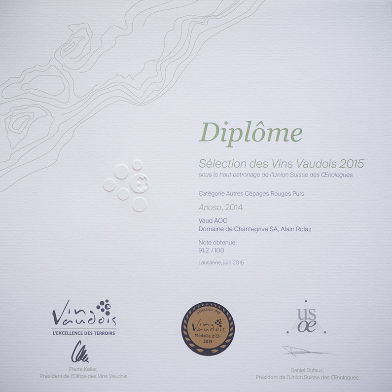 Médaille Or Arioso 2014 Domaine de Chantegrive
