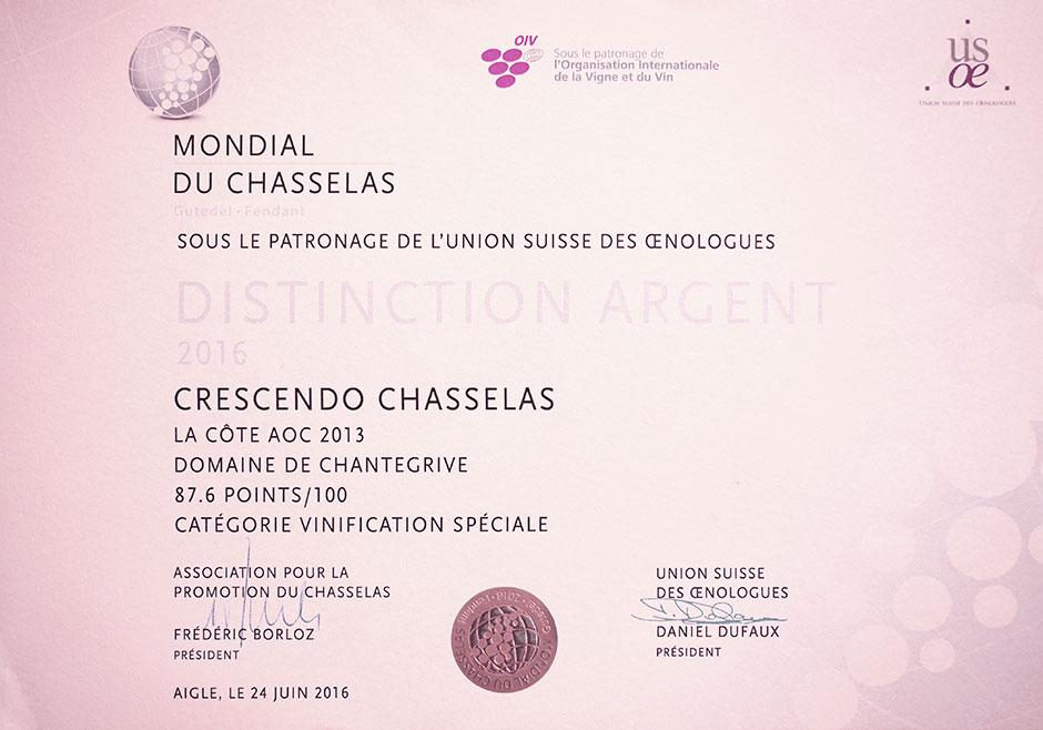 Vin primé Crescendo-Chasselas 2013 Domaine de Chantegrive