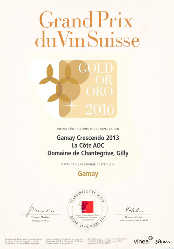 Crescendo Gamay 2013 Grand prix du vin suisse 2016