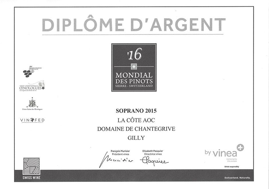 Vin primé Soprano Pinot noir 2015 Domaine de Chantegrive