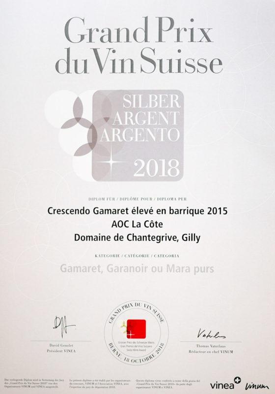 Crescendo Gamaret 2015 Médaille d'argent Grand Prix du Vin Suisse 2018