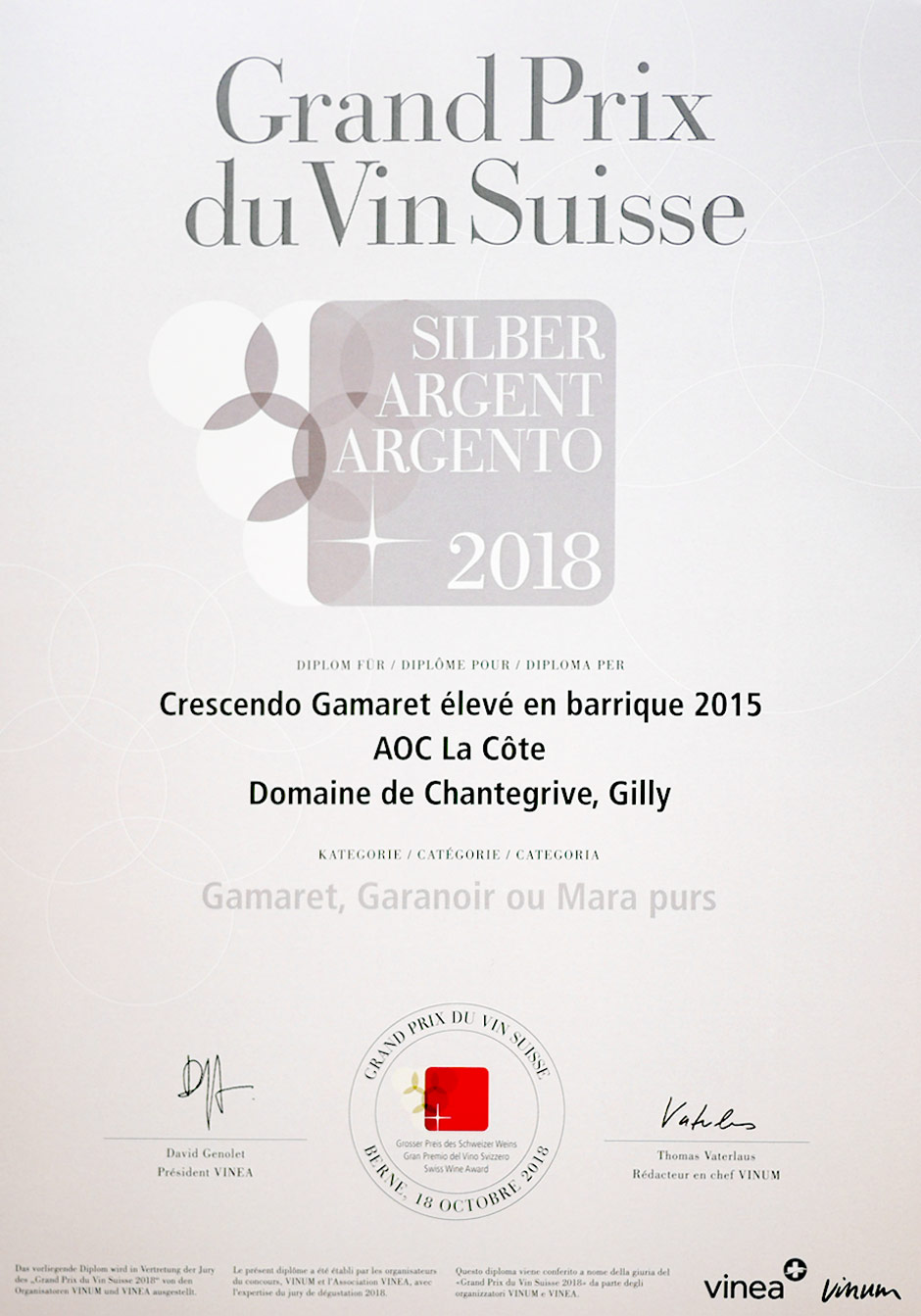 Vin primé 2018 (Argent) Crescendo-Gamaret 2015 Domaine de Chantegrive