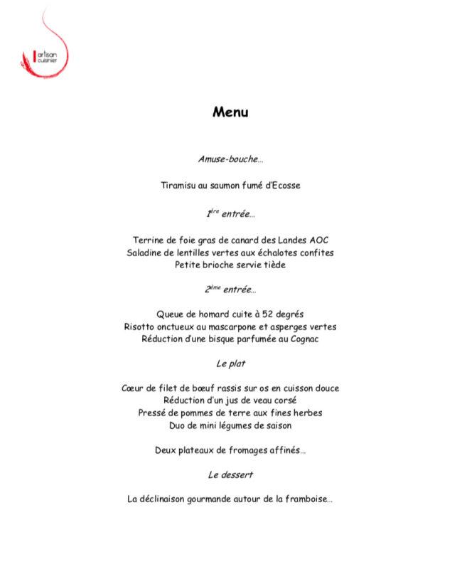 Menu Table d'hôtes 21-06-2019 Domaine de Chantegrive