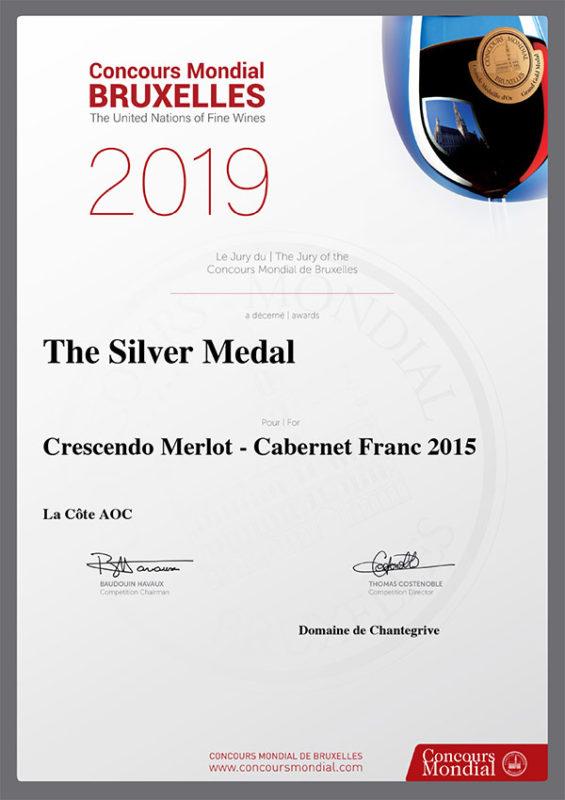 Crescendo Merlot Cabernet Franc 2015 Médaille d'argent Concours Mondial Bruxelles 2019