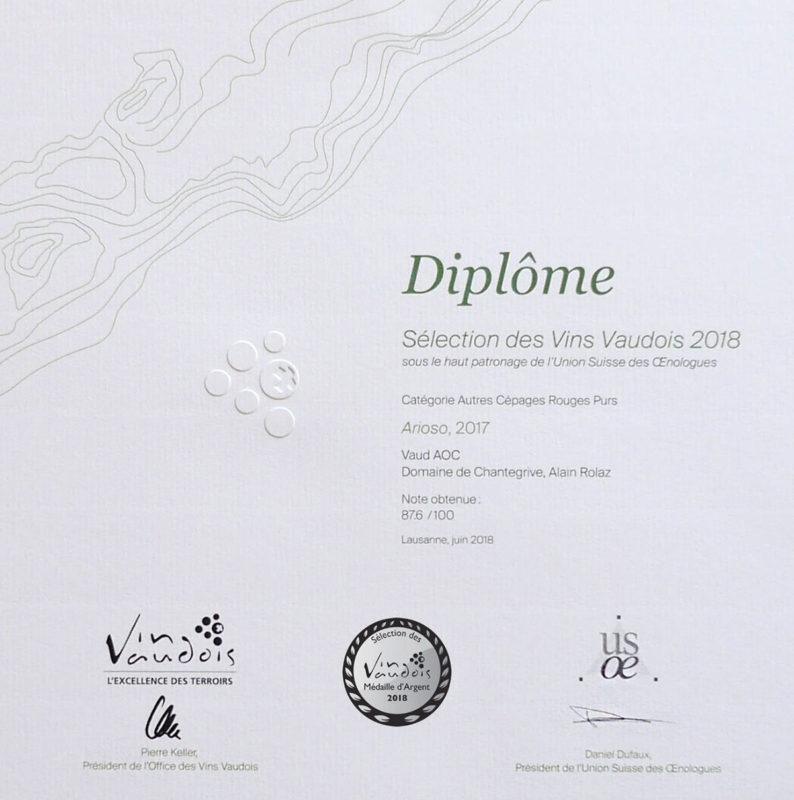 Arioso 2017 Médaille d'argent Sélection des vins vaudois 2016
