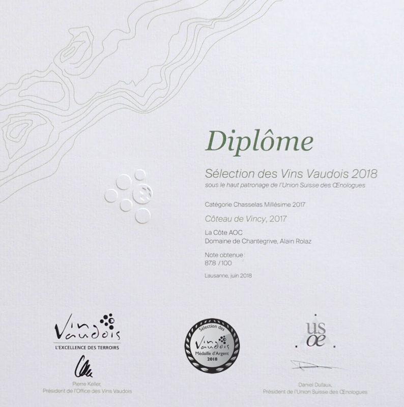 Coteau de Vincy 2017 Médaille d'argent Sélection des vins vaudois 2016