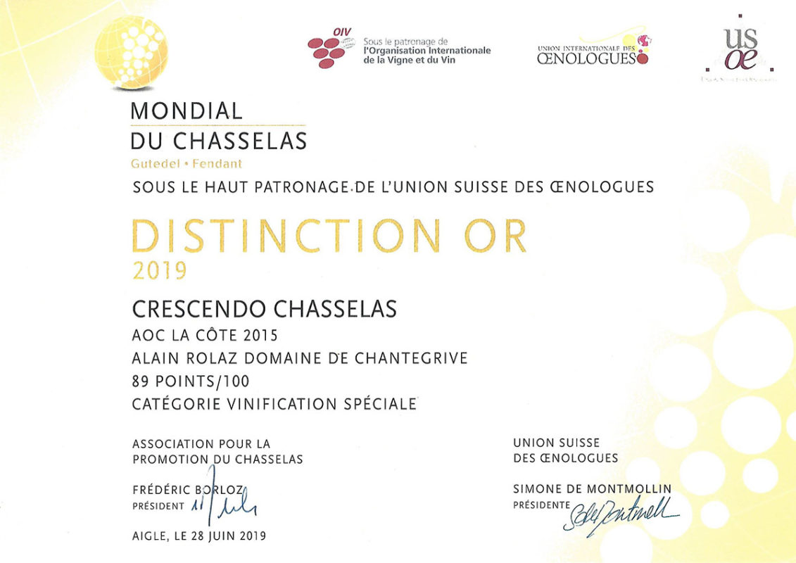 "Crescendo Chasselas 2015 Distinction ""Or"" Mondial du Chasselas 2019"