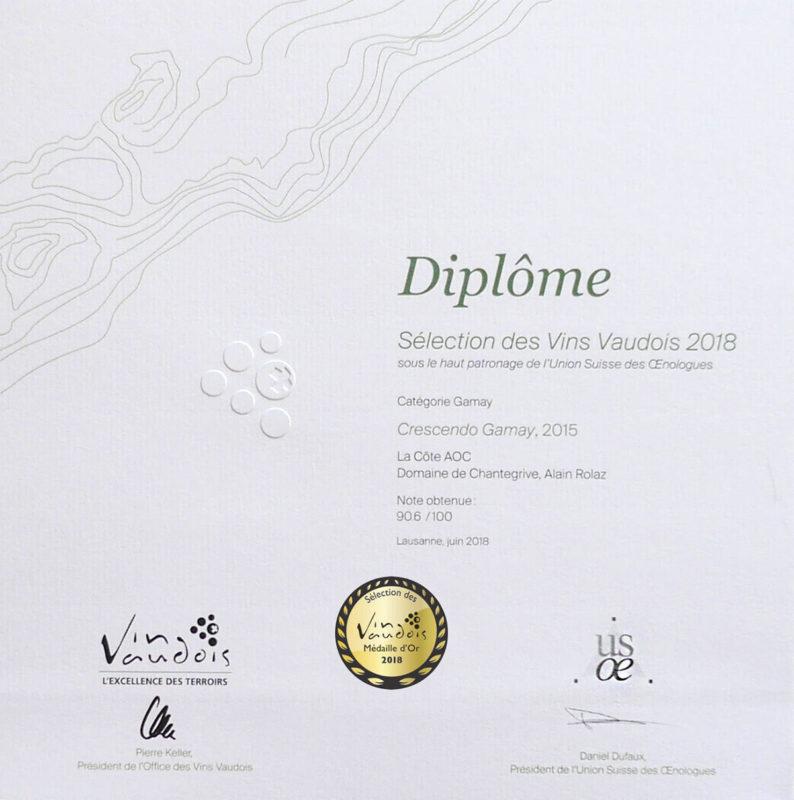 Crescendo Gamay 2015 2ème prix Médaille d'or Sélection des vins vaudois 2016