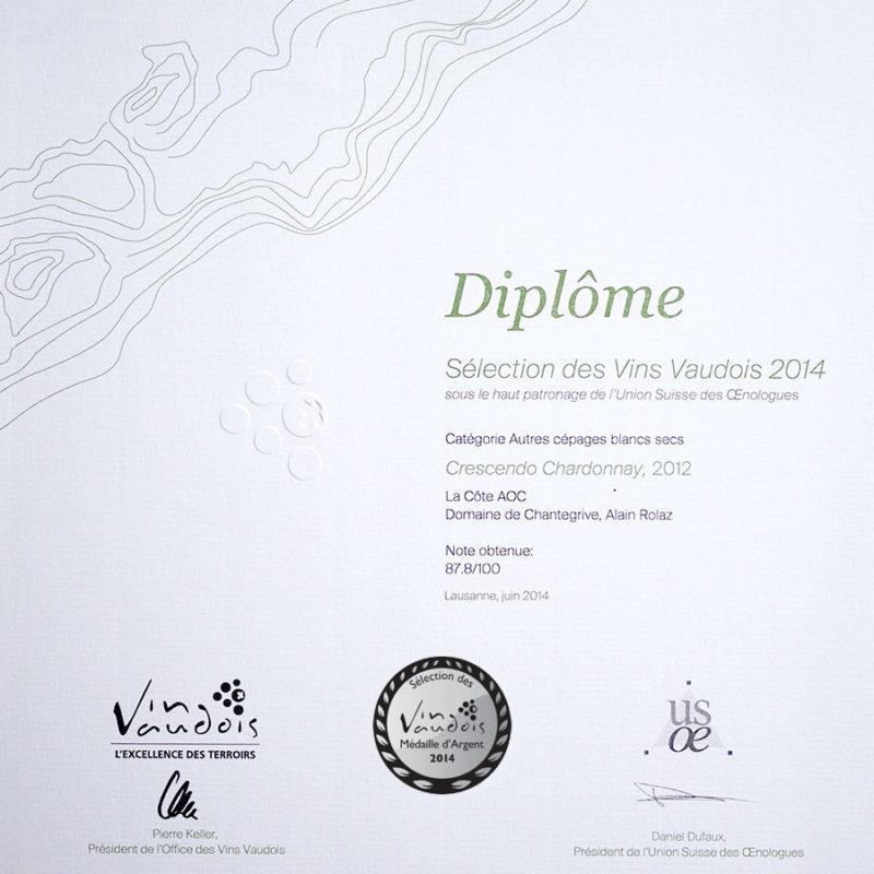 Crescendo Chardonnay 2012 Médaille d'Argent Sélection des vins vaudois 2014