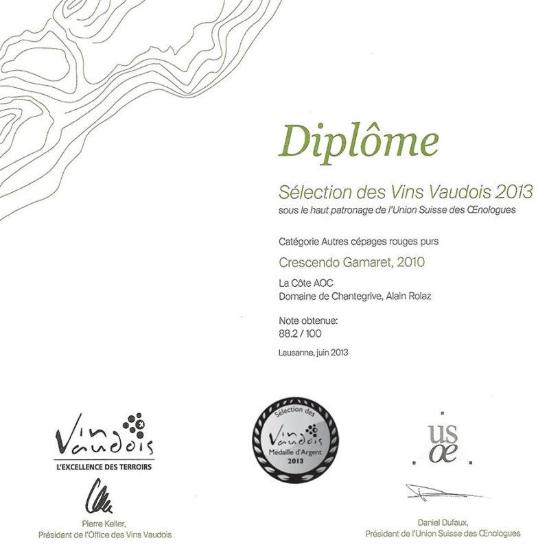Crescendo Gamaret 2010 Médaille d'Argent Sélection des vins vaudois 2013