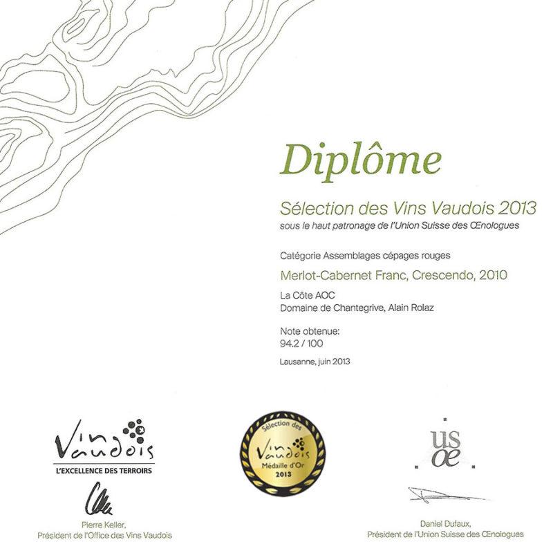 Merlot Cabernet Franc 2010 1er prix Médaille d'or Sélection des vins vaudois 2013