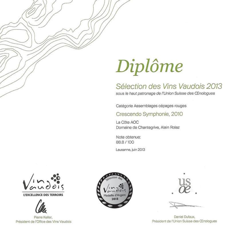 Crescendo Symphonie 2010 Médaille d'Argent Sélection des vins vaudois 2013