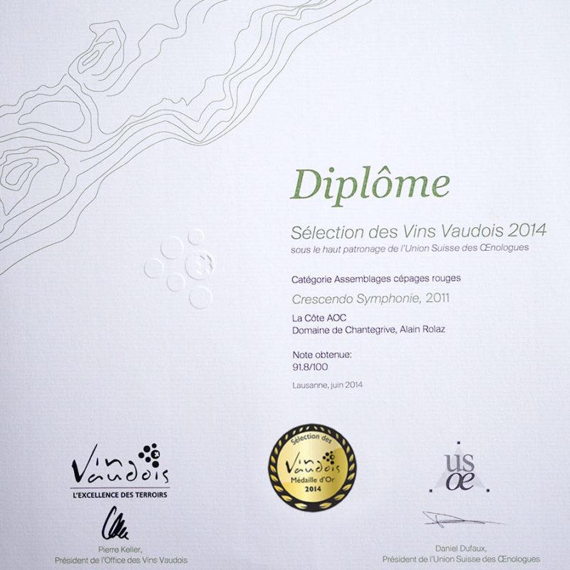 Crescendo Symphonie 2011 1er prix Médaille d'or Sélection des vins vaudois 2014