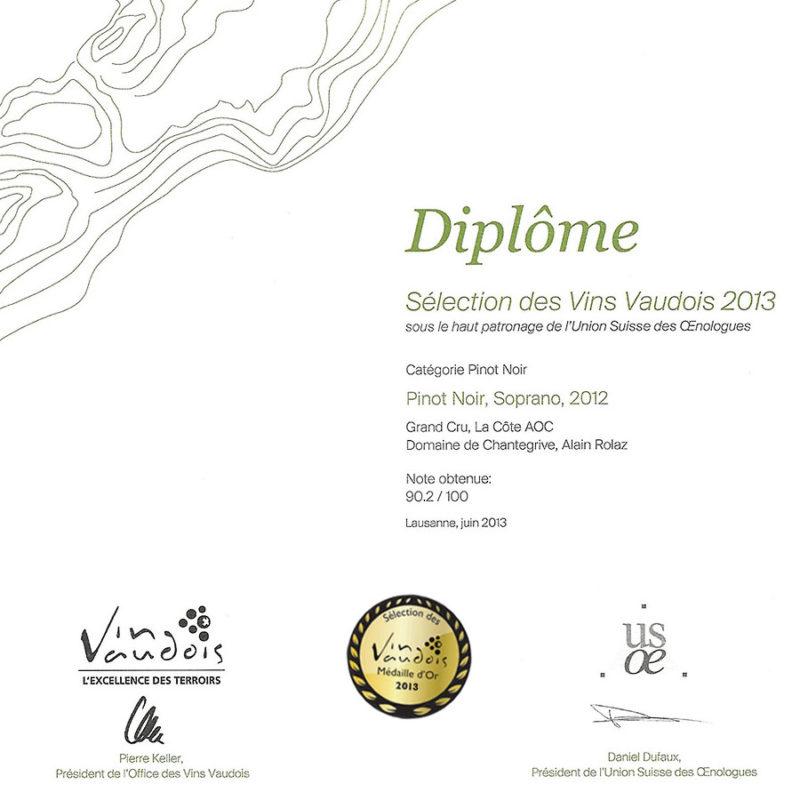 Soprano 2012 3ème prix Médaille d'or 2013 Sélection des vins vaudois 2013