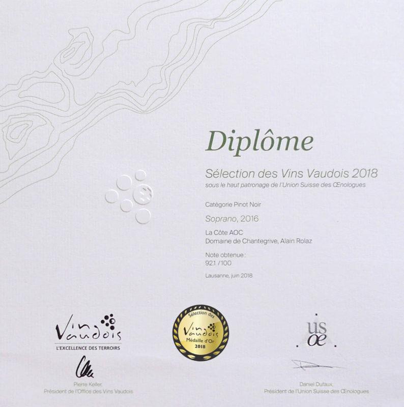 Soprano 2016 1er prix Médaille d'or Sélection des vins vaudois 2016
