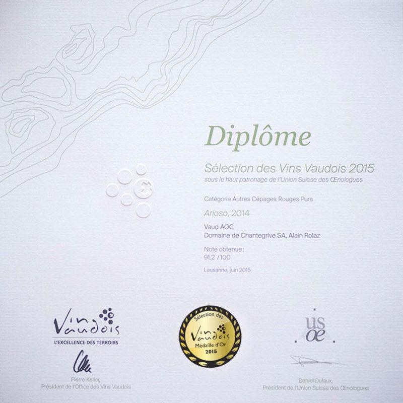 Arioso 2014 Médaille d'or Sélection des vins vaudois 2015