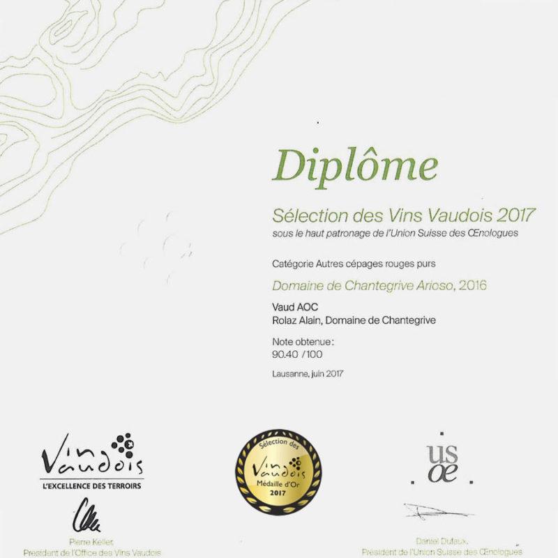 Arioso 2016 Médaille d'or Sélection des vins vaudois 2017