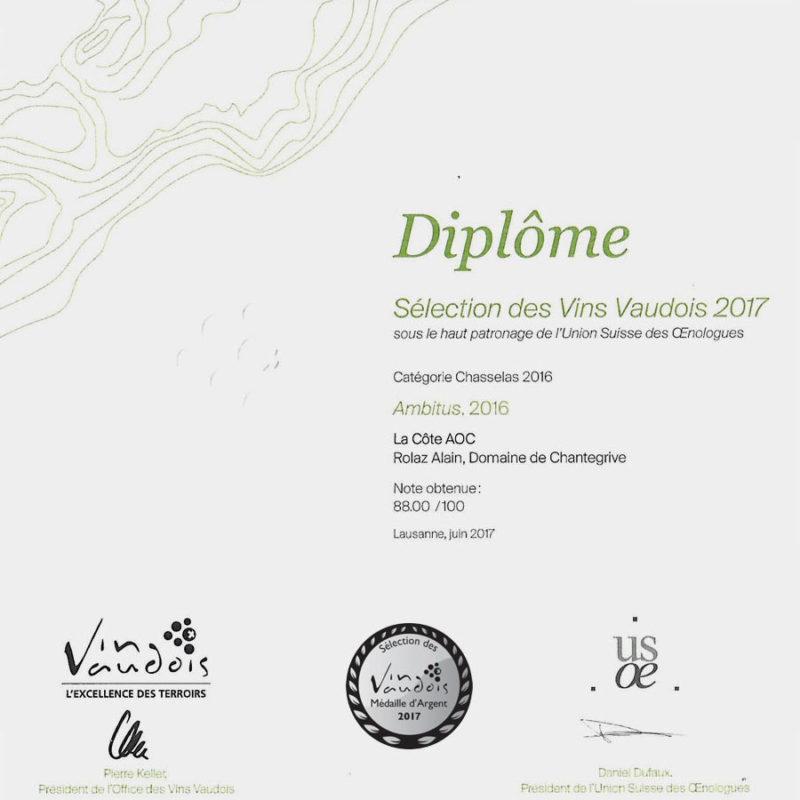 Ambitus 2016 Médaille d'argent Sélection des vins vaudois 2017