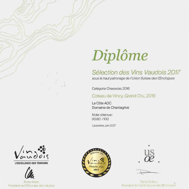 Côteau-de-Vincy 2016 Médaille d'or Sélection des vins vaudois 2017