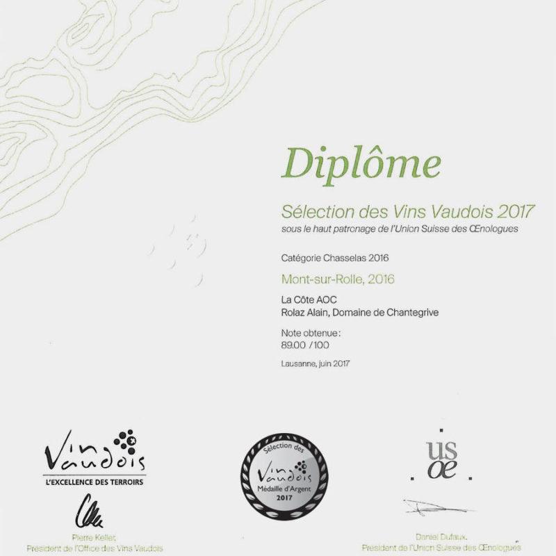 Mont-sur-Rolle 2016 Médaille d'argent Sélection des vins vaudois 2017