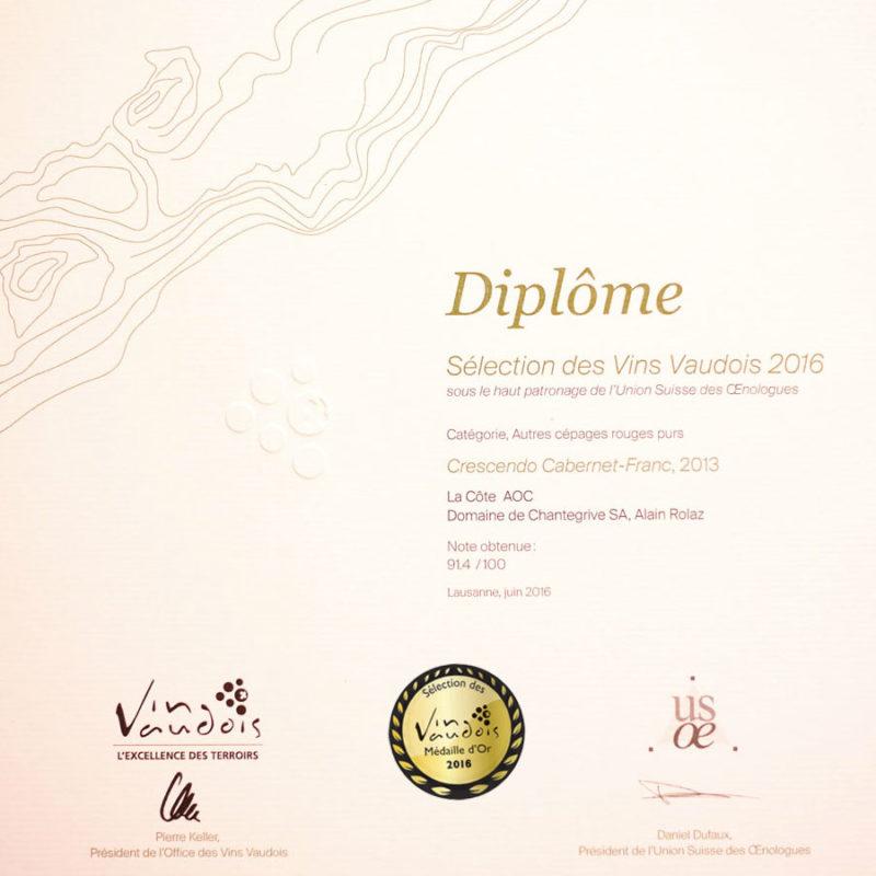 Crescendo Cabernet Franc 2013 Médaille d'or Sélection des vins vaudois 2016