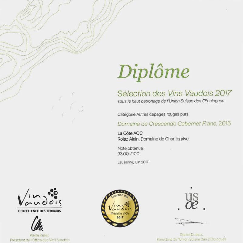 Crescendo Cabernet Franc 2015 1er prix Médaille d'or Sélection des vins vaudois 2017