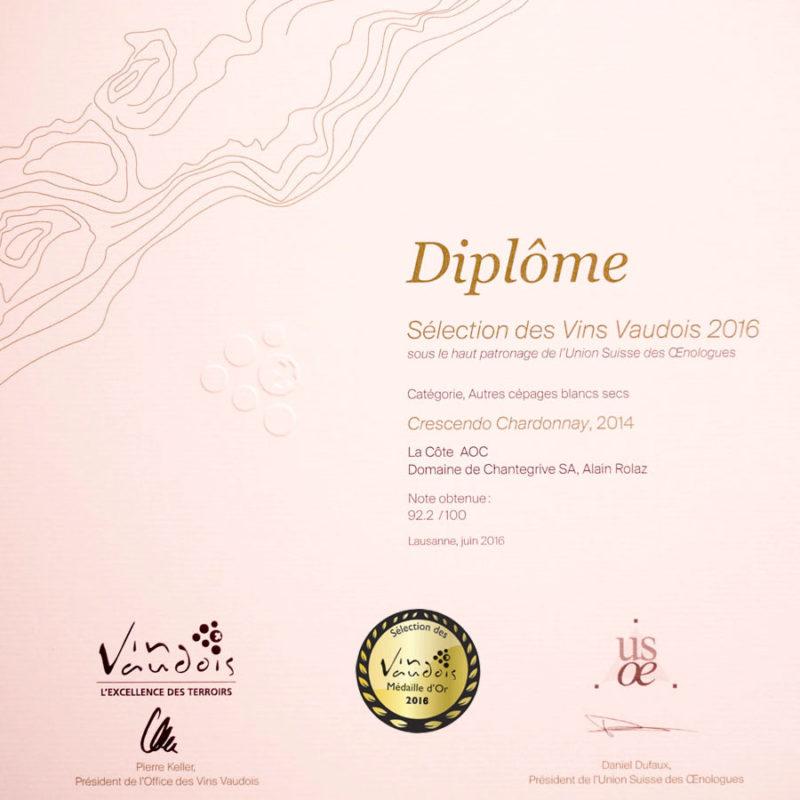 Crescendo Chardonnay 2014 Médaille d'or Sélection des vins vaudois 2016