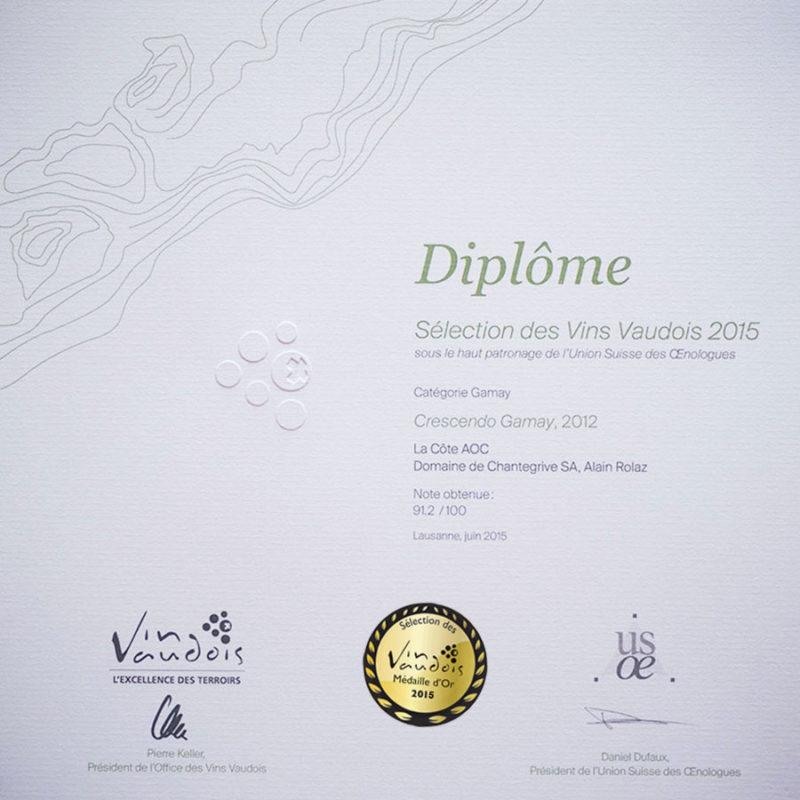 Crescendo Gamay 2012 Médaille d'or Sélection des vins vaudois 2015