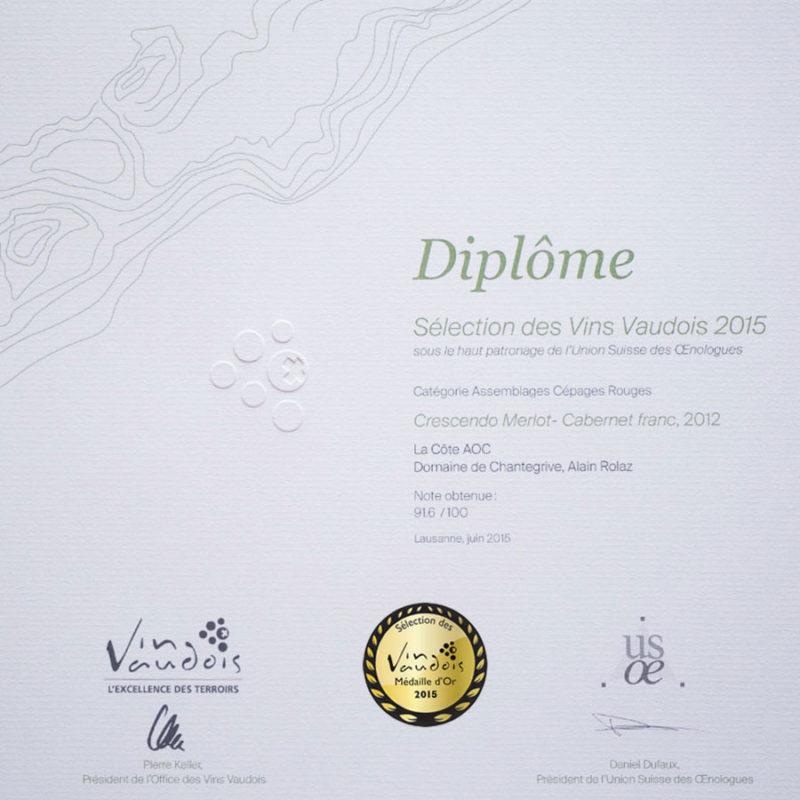 Crescendo Merlot Cabernet Franc 2012 Médaille d'or Sélection des vins vaudois 2015