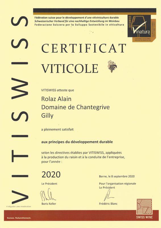 Certificat Vitiplus 2020